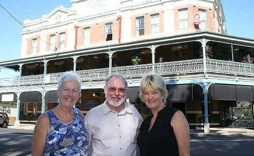 Lismore Soup Kitchen vice-president Margaret Lord, Winsome general manager John Paterson and Lismore Soup Kitchen president Mieke Bell. Inset: Tim Costello, patron of the Lismore Soup Kitchen, who will be special guest at a special 20th anniversary dinner on February 13.