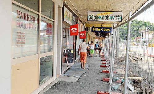 The section of Barker Street in Casino were some shops have been damaged by demolition work being undertaken as part of a CBD upgrade by the council.