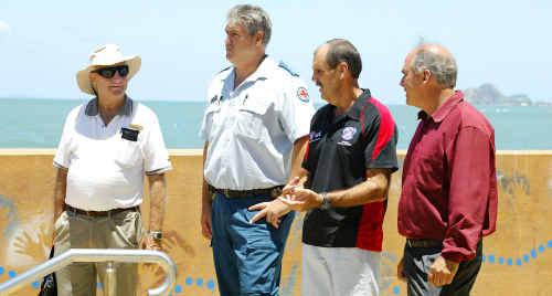Keep Australia Beautiful Clean Beaches Awards judge Dr David Moy is shown along the Yeppoon beachfront by Jason Thompson, John Hamrey and Cr Bill Ludwig.