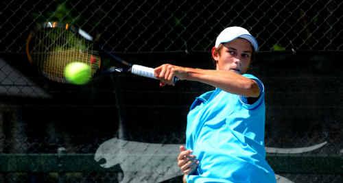 Grafton's latest tennis sensation Jacob Sullivan on court at the Grafton Tennis Complex.
