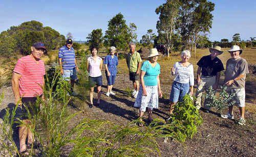 Volunteers at the River Heads reserve include Alan Baxter, John Davies, Lisa Kong, Fay Davies, Warren McLaughlin, Carol Baxter, Judy Sponder, Neville Watson and Bob Sponder.