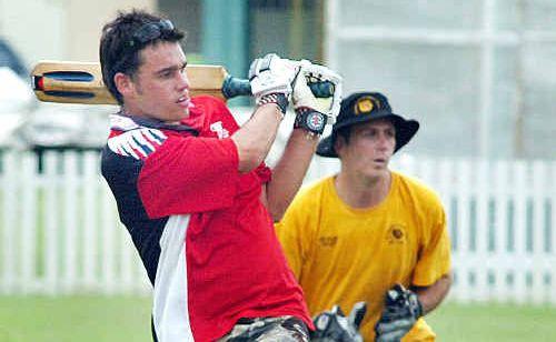 Tinana Hockey Club batsman Sam Colston hits out on the way to his team winning the Maryborough Cricket Club seven-a-side tournament last year.