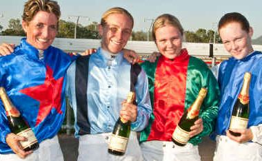 Celebrations galore for the four – Shayla Evans, Carly-Mae Pye, Alisha Taylor and Trinity Bannon – who created history by riding a TAB card of winners in Rockhampton last Tuesday.