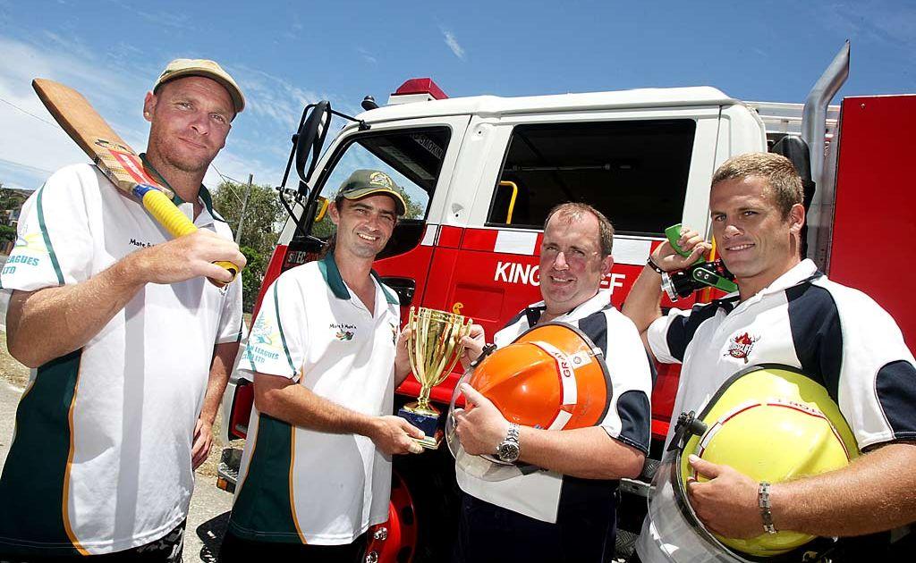Firing up for the Andrew 'Packy' Turnbull Memorial cricket match are (from left) Geoff Martin, Cudgen 4ths captain Steve Halloran Rural Fire Brigade captain Brett Gray, and fireman Lucas Herrington.