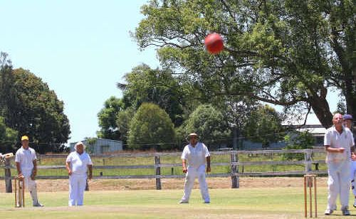 Westlawn fielders watch as this ball heads for the boundary in the match against Coutts Crossing at Ulmarra on Saturday.