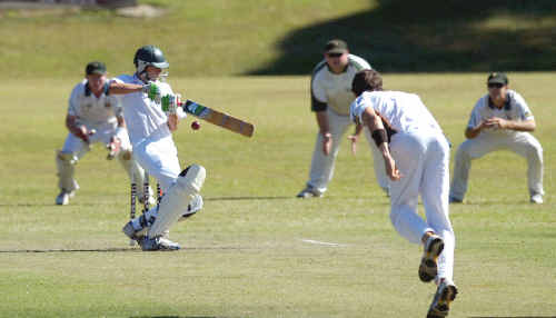 Reegan Piper attempts to cut while batting for Alstonville against Cudgen at Hill Park Oval, Wollongbar, on Saturday.