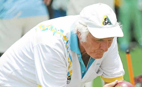 Bargara Bowls Club member Noel Pershouse during the Australia Day Four competition held at the Bargara Bowls Club.