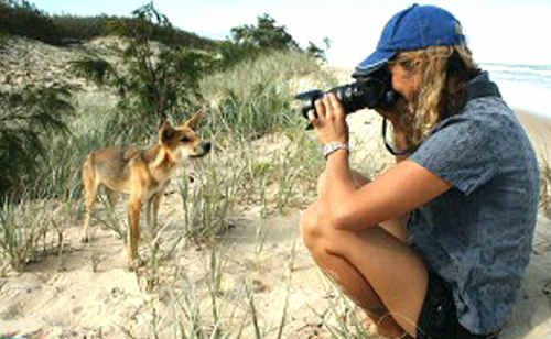 "A picture of dingo crusader Jennifer Parkhurst from her ""Fraser Island Footprints"" website."