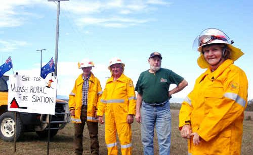 Wildash Rural Fire Brigade members are inviting the community to help raise money for a much-needed shed. Pictured (from left) is firefighter Paul Maher, fire warden Peter Maher, president Liam O'Dea and secretary/treasurer and organiser Eileen Scott.