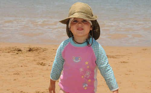 Jade Schembri takes it all in her stride while exploring the beach at Bargara.