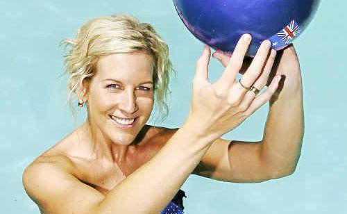 Enjoying Australia Day in the pool is Bundaberg sportsperson of the year, netballer Carly McCann.