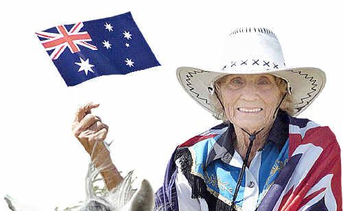 Edna Cairns, 90, arrives by horse at the Burrum District Community Centre for yesterday's celebrations.