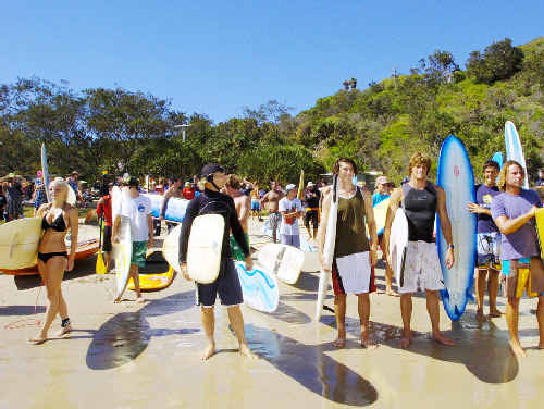 The Byron Bay crowds turn out for the Australia Day Charity Paddle event at Wategos yesterday.