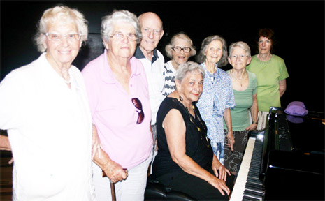 Tinkling the ivories: Pianist Marie Caldwell plays for the senior citizens at the Byron Bay Community Centre last week.