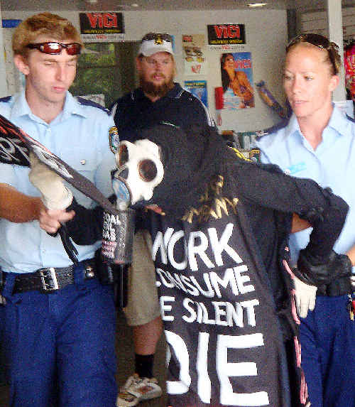 Police arrest protestor Benny Zable at the Goonellabah Sports and
