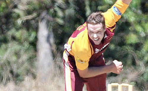 Queensland Bull Ben Laughlin sends one down in last year's pre-season tournament at Buderim.