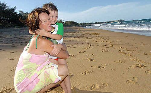 Bronwyn Zelinski ran to pull her son Myles away from the water as a shark attacked a surfer at Archie's Beach on Wednesday.