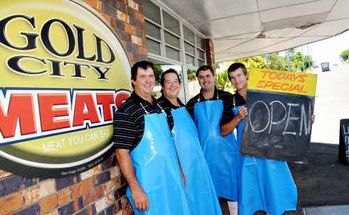 Paul Dakin, Bruce Adams, Jonathan Linsdell and Blake Gear at the newly opened Gold City Meats.