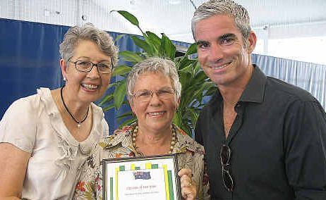 Lismore Citizen of the Year Deirdre Paillas with Mayor Jenny Dowell and Australia Day ambassador Craig Foster.