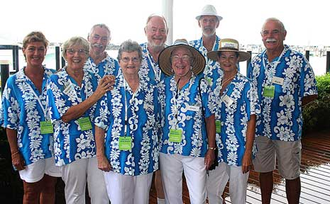 These are the friendly local faces that greet crusie visitors to our area. Back: Gay Bowden, Tony Dunn, John Powell, Peter Payne and Keith Dunn. Front: Margaret Moulding, Sue Bowen, Gwen Jackson and Judi Dunn were on hand on Monday morning welcoming visitors of the Pacific Dawn.