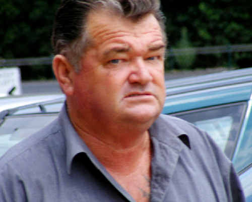 Tabulam man Brian Baker outside the Lismore Courthouse. He is accused of assaulting his house builder, Ross Pankhurst.