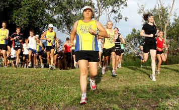Sam Ford leads out members of Rocky Road Runners on Thursday.