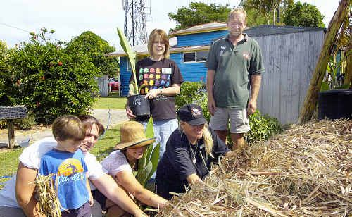 Noah (from left) and Jac Gillies, Claire Rendall, Maggie John, Sara Ashdown and Anton Lix work on the no dig garden.