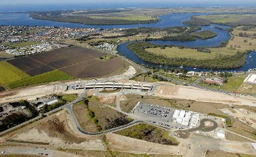 An aerial view of the southern end of the Ballina bypass at West Ballina showing the bridge constructed over Tevan Road. There will be a total of 22 bridges built on the 12.4km dual carriageway.