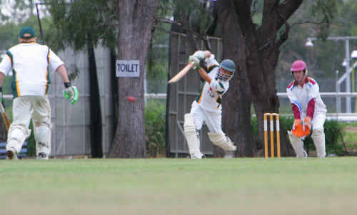 Gracemere's in-form batsman Aaron Harmsworth on the attack against Norths.