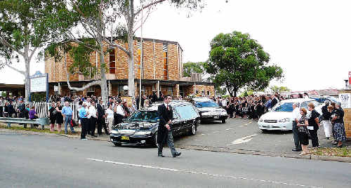 A large crowd gathered for the funeral of Joseph and Carole Sherry at Our Lady Queen of Peace Catholic Church in Greystanes, Sydney. The couple drowned at South Ballina Beach two weeks ago.