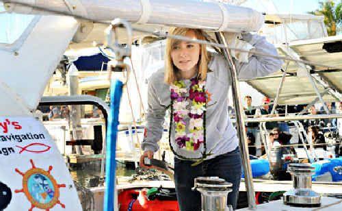Abby Sunderland on board Wild Eyes.
