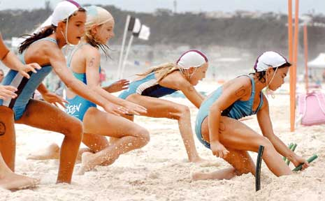 Competing at the annual branch titles at Lennox Head are (from left) Mahli Borham and Saskia Dyer, both of Ballina Lighthouse and Lismore Surf Life Saving Club, Emily Hurt of Cudgen, and Tara Meaney and Norika Wright, both of Ballina Lighthouse.
