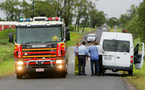 This van was stuck in floodwaters on Johnson Road, Gracemere, this morning.