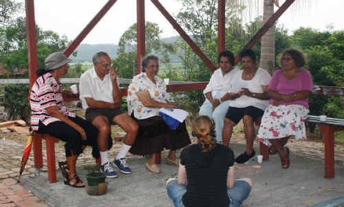 Macquarie University researcher Jo Packer conducts one of the many interviews with Yaegl elders about local bush medicines.