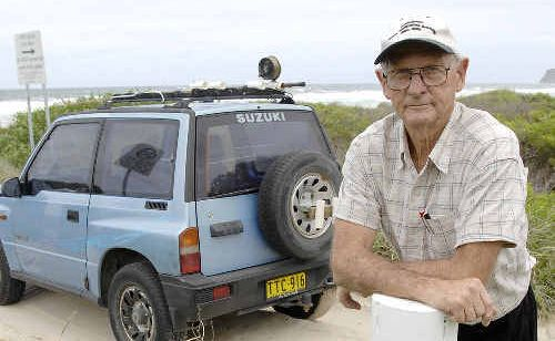 Ballina 4WD enthusiast Denis Magnay, a member of the Northern Beaches Users Club, at the entrance to the beach access track to Seven Mile Beach north of Lennox Head.