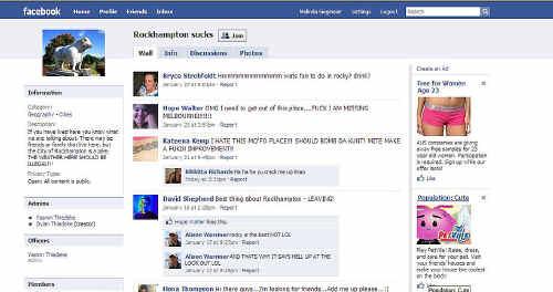 "A screen shot from the Facebook group, ""Rockhampton Sucks""."