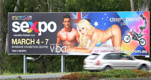 The Sexpo billboard at Dinmore was removed on Thursday morning.
