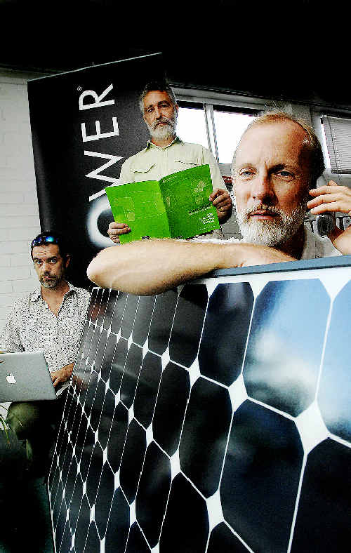 Home Sustainability assessors (from left) Andy Gough, Russell Trebilcock and Michael Qualmann are experiencing difficulties trying to get in contact with the Federal Government's Green Loans office.