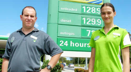North Ballina BP manager Scott Smith and employee Tash Geyer are gearing up to offer a new 24-hour service to drivers now the Caltex Big Prawn complex has shut up shop on the other side of town.