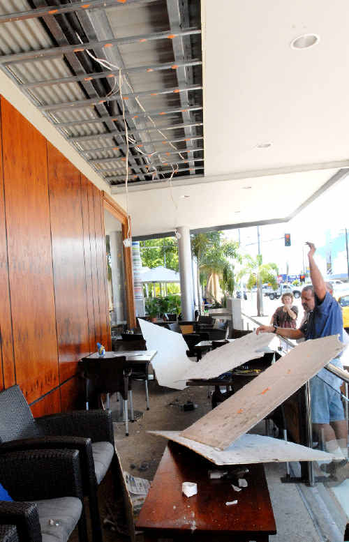 The aftermath at Toscani's Cafe Bar and Restaurant after the ceiling fell on a patron who was having lunch at the Sydney Street Markets restaurant, yesterday afternoon.