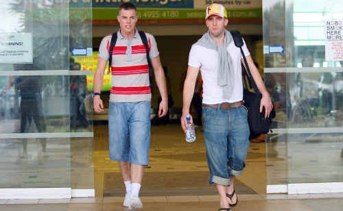 New Cougars players Anthony Hartnell and James Morris arrive at Rockhampton Airport and are ready for the Hyundai QSL season.
