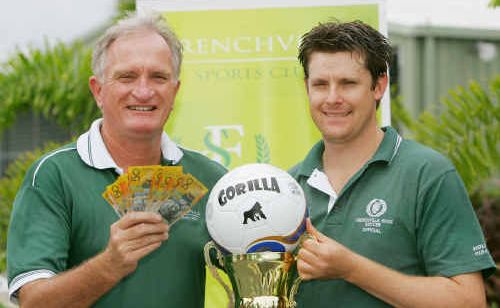 THE PRIZES: Frenchville Sports Club's Terry Kennedy and John Ganly are ready to hand out cash and a trophy to winners at the upcoming six-a-side competition.