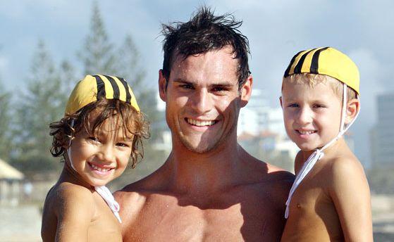Brisbane Lions Training with Nippers at Alexandra Headland beach. Photo: Nicholas Falconer