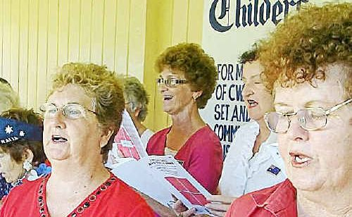 Childers Choral Society members entertain their audience: front (from left) Gwen Hjort, Tina Mammino, Marg Smith, Gloria Peters and back (from left) Merle Gallehawk and Denise Mattson. SUBMITTED PHOTO