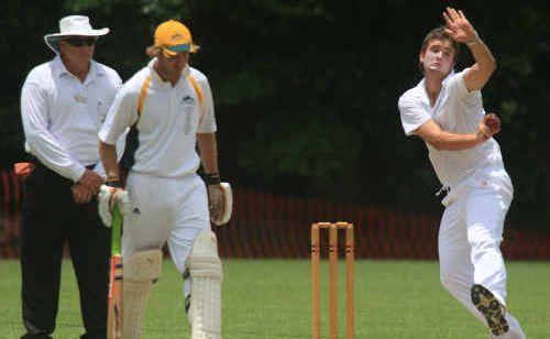 TERRANORA'S Joe Clarke backs up as Tintenbar's Abe Crawford charges in to bowl last season.