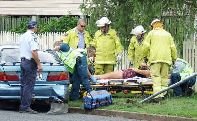 A Maryborough teenager and her passenger were lucky not to be seriously injured in a car crash yesterday.