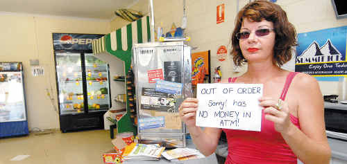 Kath Delroy at Blacks Beach supermarket at Turtle Place Shopping Centre where thieves stole an ATM machine without any cash.