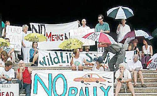 RALLY protestors in Murwillumbah last week.