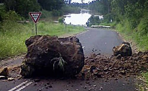 The boulder that almost hit Brenda's car.