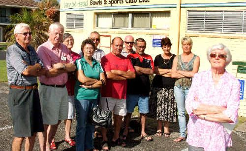 Judy Smith, from the Lennox Head Residents Association (right), and representatives from other community groups, are upset because they have not been told about changes to the opening hours of the Lennox Head Bowls and Sports Club.